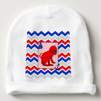 Red Blue Chevron with Baby Monkey Baby Beanie