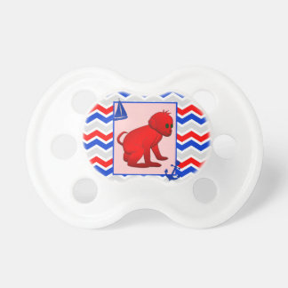 Red Blue Chevron with Baby Monkey Dummy