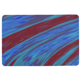 Red Blue Color Swish Abstract Floor Mat