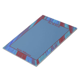 Red Blue Color Swish Abstract Notepad