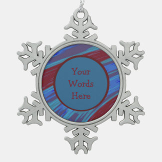 Red Blue Color Swish Abstract Snowflake Pewter Christmas Ornament