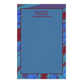 Red Blue Color Swish Abstract Stationery