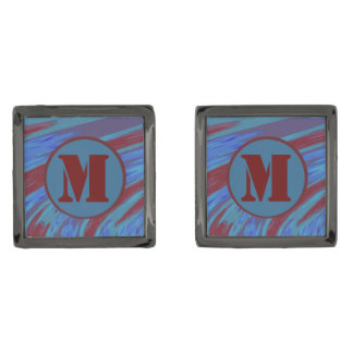 Red Blue Color Swish Monogram Gunmetal Finish Cufflinks