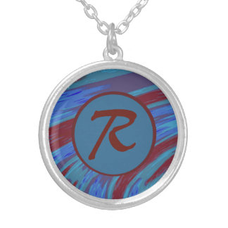Red Blue Color Swish Monogram Silver Plated Necklace