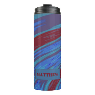 Red Blue Color Swish Thermal Tumbler