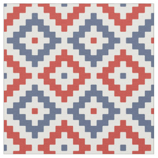 Red, Blue & Cream Mayan Stepped Pattern Fabric