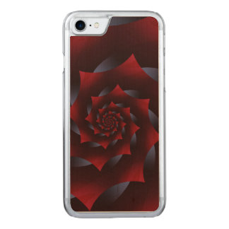 Red & Blue Dark Spiral iPhone 6 Slim Wood Carved iPhone 8/7 Case