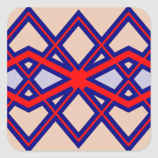 Red & Blue Diamond Flower Sticker