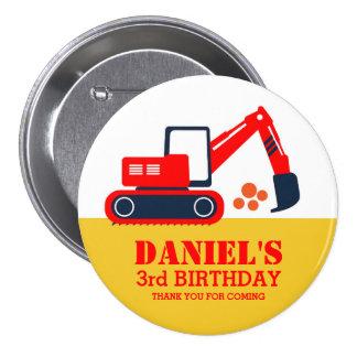 Red Blue Excavator Kids Birthday Party Button