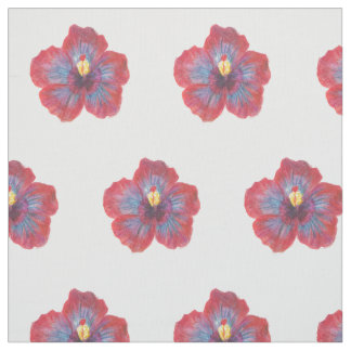 Red Blue Flower Watrecolor Drawing Fabric