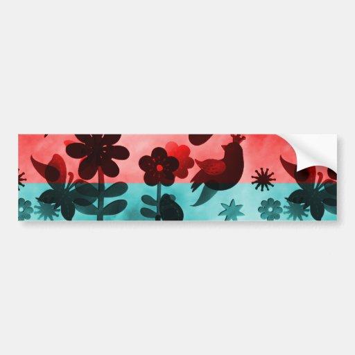 Red Blue Flowers Birds Butterflies Floral Grunge Bumper Stickers