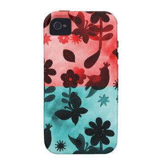 Red Blue Flowers Birds Butterflies Floral Grunge Vibe iPhone 4 Case