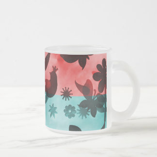 Red Blue Flowers Birds Butterflies Floral Grunge Frosted Glass Coffee Mug