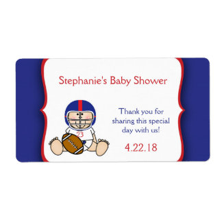 Red Blue Football Baby shower water bottle favor