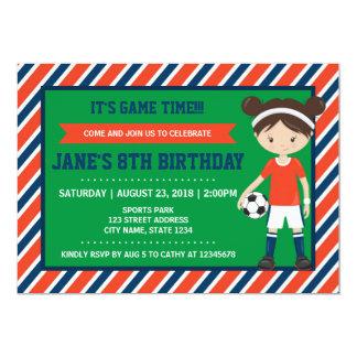 Red Blue Football Girl Soccer Birthday Invitation