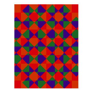 Red Blue Green Check Pattern Postcard