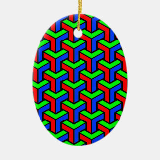 Red, Blue, Green Geometric Pattern Christmas Ornament