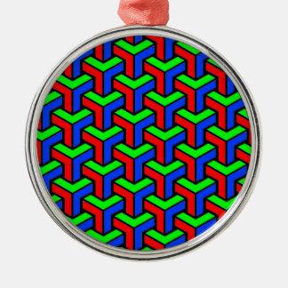 Red, Blue, Green Geometric Pattern Christmas Ornament