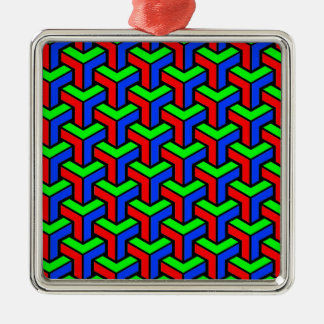 Red, Blue, Green Geometric Pattern Silver-Colored Square Decoration