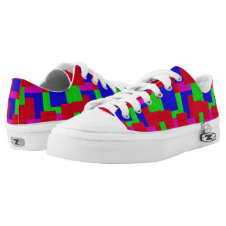 Red Blue Green Mosaic Abstract Blocks Pattern, Low Tops