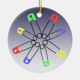 Red Blue Green Safety Pin Rainbow Solidarity Christmas Ornament