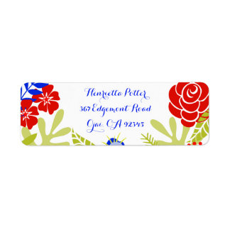 Red Blue Green Vintage Floral Pattern Return Address Label