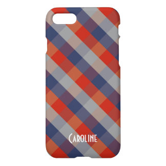 Red Blue Grey Gingham Pattern Personalized Name iPhone 8/7 Case