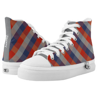 Red Blue Grey Gingham Pattern Personalized Name Printed Shoes