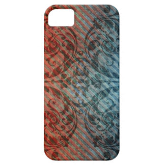 Red Blue Grunge Floral Diagonal Pattern iPhone4 Ca iPhone 5 Covers