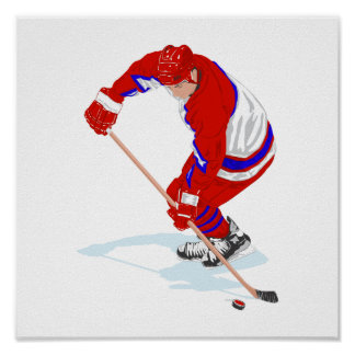 Red Blue Ice Hockey Player Poster