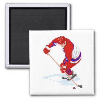 Red Blue Ice Hockey Player Square Magnet