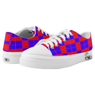 Red Blue Large Checks Printed Shoes