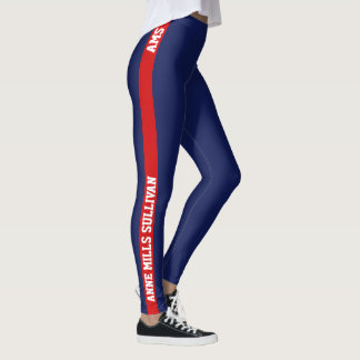 red & blue legging with name & initials, stylish
