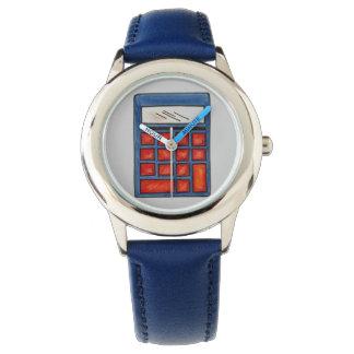 Red Blue Math Teacher Mathematics Calculator Watch