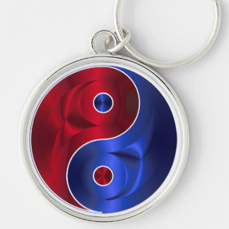 Red & Blue Metallic YinYang Silver Circle Necklace Key Ring