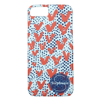 Red Blue Modern Painterly Hearts and Dots Monogram iPhone 8/7 Case