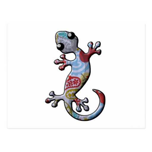 Red Blue Paisly Climbing Gecko Lizard Postcard