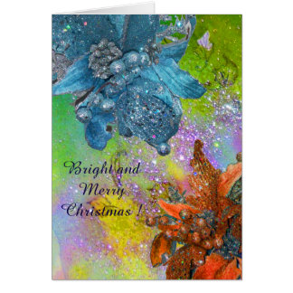 RED BLUE POINSETTIAS,CHRISTMAS STARS,GOLD SPARKLES GREETING CARD