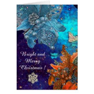 RED BLUE POINSETTIAS,DIAMOND STARS,SILVER SPARKLES GREETING CARD