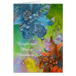 RED BLUE POINSETTIAS,XMAS STARS IN GREEN SPARKLES GREETING CARD