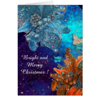 RED BLUE POINSETTIAS,XMAS STARS IN SILVER SPARKLES GREETING CARD