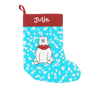 Red Blue Polar Bear Snow Christmas Stocking