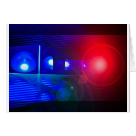 red & blue police lights card