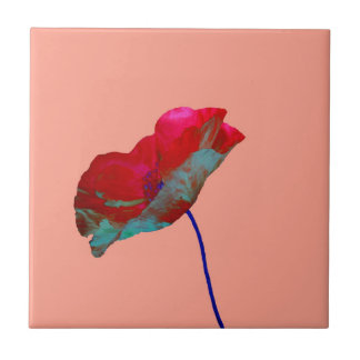 Red blue poppy on pink tile