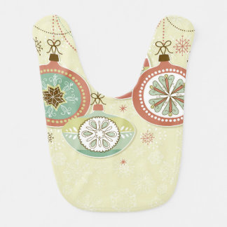 Red & Blue Retro Christmas Ornaments Baby Bib
