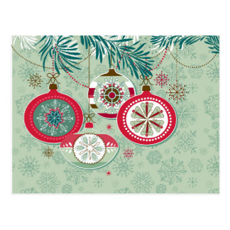 Red & Blue Retro Christmas Ornaments Postcard
