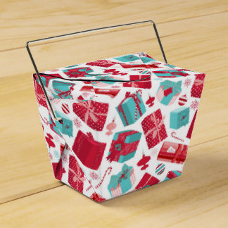 Red & Blue Retro Christmas Packages Favour Box