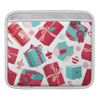 Red & Blue Retro Christmas Packages iPad Sleeve