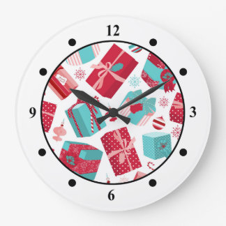 Red & Blue Retro Christmas Packages Large Clock