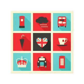 Red & Blue Retro London Collage Canvas Print